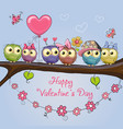 valentines card with cute owls vector image