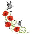 Flowers butterflies poppies vector image