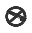 black icon on white background no saws vector image vector image