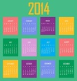 2014 Calendar In Colorful Cubes vector image