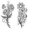 Sun flowers set vector image