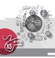 Hand drawn game pad icons with icons background vector image vector image
