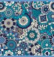 blue floral ornamental pattern vector image