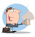 Businessman Holds A Coffee vector image