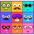 Cartoon Faces with Emotions and Mustache vector image