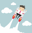 Flying businessman with jetpack vector image