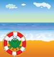 frog and beach vector image