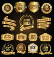 golden badges and labels with golden ribbon vector image