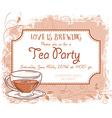 hand drawn tea party invitation card vintage frame vector image
