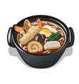 Seafood soup in black plate icon food for design vector image