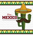 cactus with hat moustache mexican graphic vector image