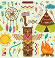 seamless pattern with tribal elements vector image