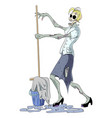 cartoon image of undead monster lady cleaning vector image