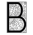 B letter with floral ornament vector image