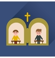 Flat icon with long shadow priest confession vector image