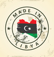 Stamp with map flag of Libya vector image