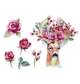 watercolor hand drawn floral set with deer vector image