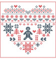 nordic pattern in hearts shape with gingerbread vector image