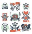 pirate spirit logo emblems poster on white vector image