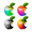 Set of colored bitten apples isolated vector image