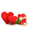 Valentines day background with two hearts and vector image