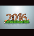 2016 happy new year wooden sign on green grass vector image