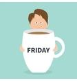 Sleepy businessman manager hugs Friday coffee cup