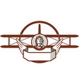 World War 1 Pilot Airman Spad Biplane Circle Retro vector image