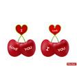 cherries heart-shaped in vector image