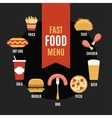 Fast food menu in flat style vector image