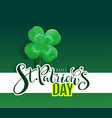 happy st patricks day text lucky four leaf vector image