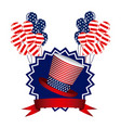 emblem independence day with hat balloons and vector image