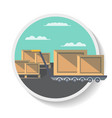 logistics icon with delivery boxes on truck vector image