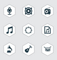 audio icons set collection of barrel megaphone vector image