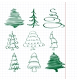 christmas trees sketch set vector image