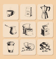coffee production hand drawn beans vintage drawing vector image