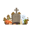 Halloween with grave ghost and vector image