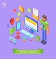 isometric flat concept of media market vector image