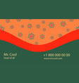 orange-green creative business card with vector image