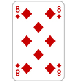 Poker playing card 8 diamond vector image