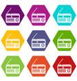 retro radio icon set color hexahedron vector image