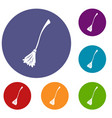 witches broom icons set vector image