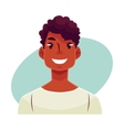 Young african man face smiling facial expression vector image