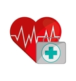 heart cardiogram and first aid kit icon vector image