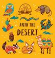set with cartoon animals of desert vector image