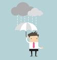Businessman under an umbrella in the rain vector image vector image
