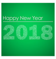 green happy new year 2018 from little snowflakes vector image