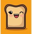 kawaii cute breakfast bread slice icon vector image