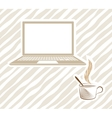open laptop with coffee vector image