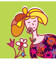 Fashion card with girl vector image vector image